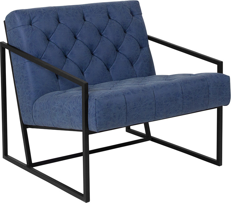 Lemoderno Madison Series Retro Blue Leather Tufted Lounge Chair