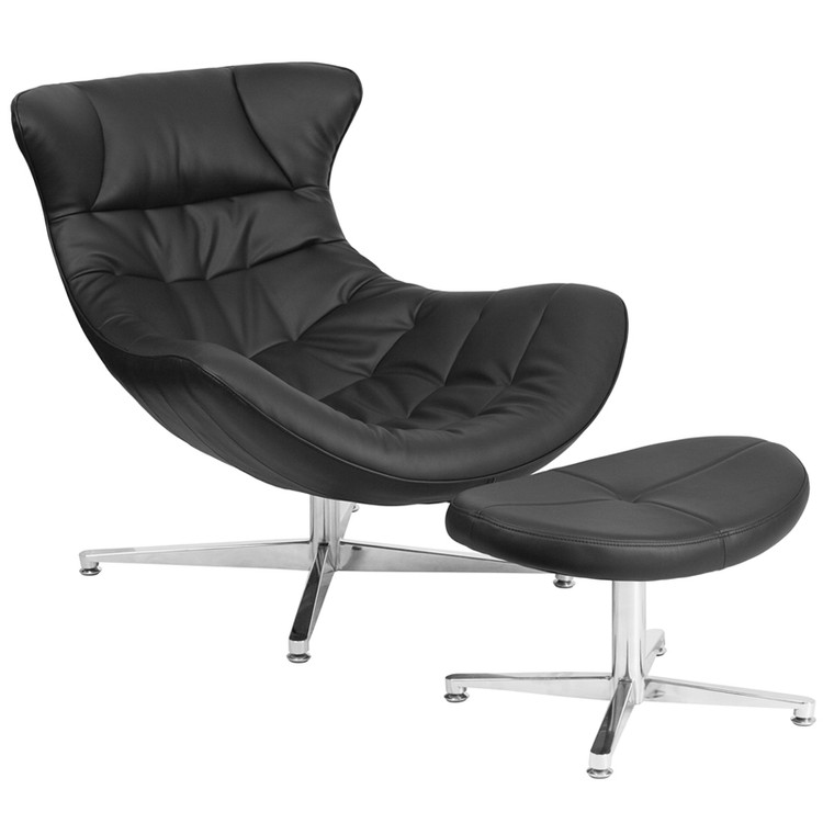 Lemoderno Black Leather Cocoon Chair with Ottoman