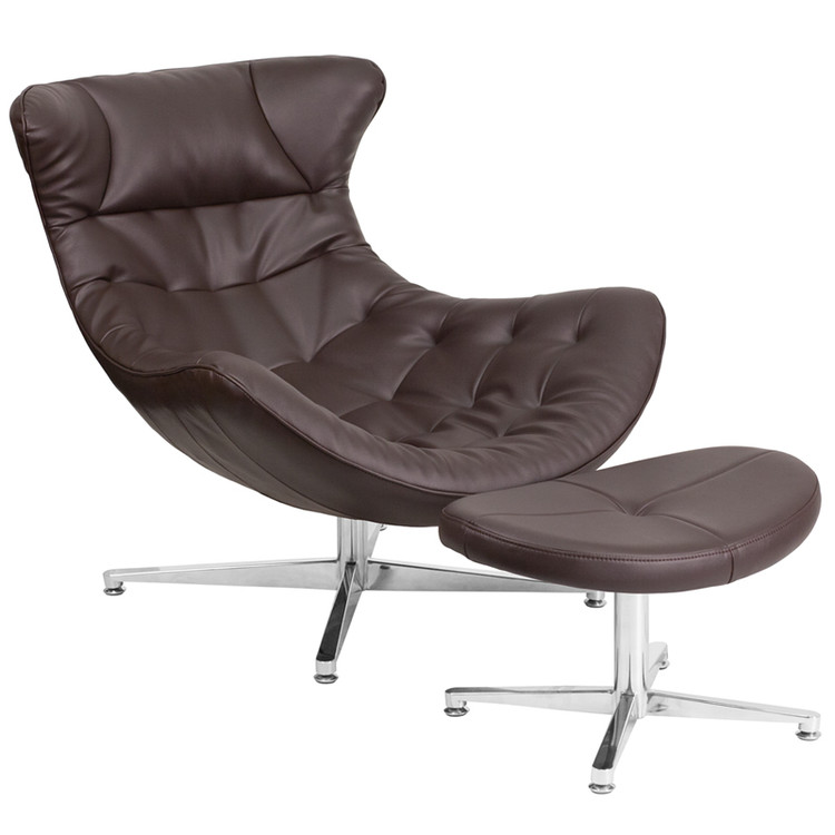 Lemoderno Brown Leather Cocoon Chair with Ottoman