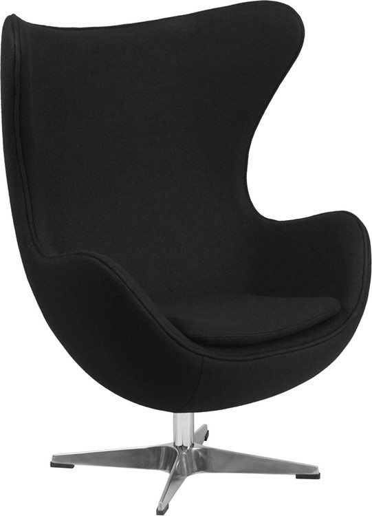 Lemoderno Black Wool Fabric Egg Chair with Tilt-Lock Mechanism