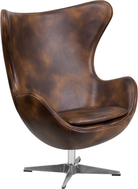 Lemoderno Bomber Jacket Leather Egg Chair with Tilt-Lock Mechanism