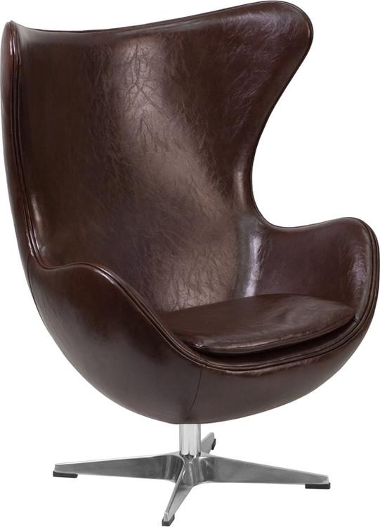 Lemoderno Brown Leather Egg Chair with Tilt-Lock Mechanism