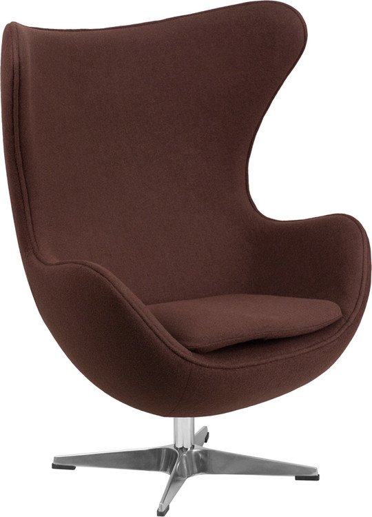 Lemoderno Brown Wool Fabric Egg Chair with Tilt-Lock Mechanism
