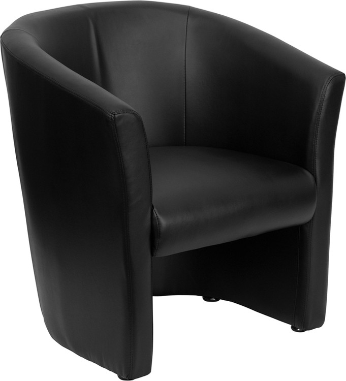 Lemoderno Black Leather Barrel-Shaped Guest Chair