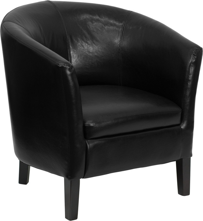 Lemoderno Black Leather Barrel Shaped Guest Chair
