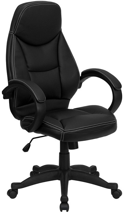 Flash Furniture High Back Black Leather Contemporary Executive Swivel Chair with Arms 1