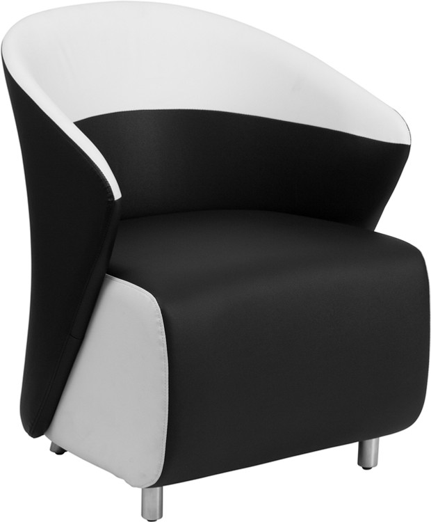 Lemoderno Black Leather Lounge Chair with Melrose White Detailing