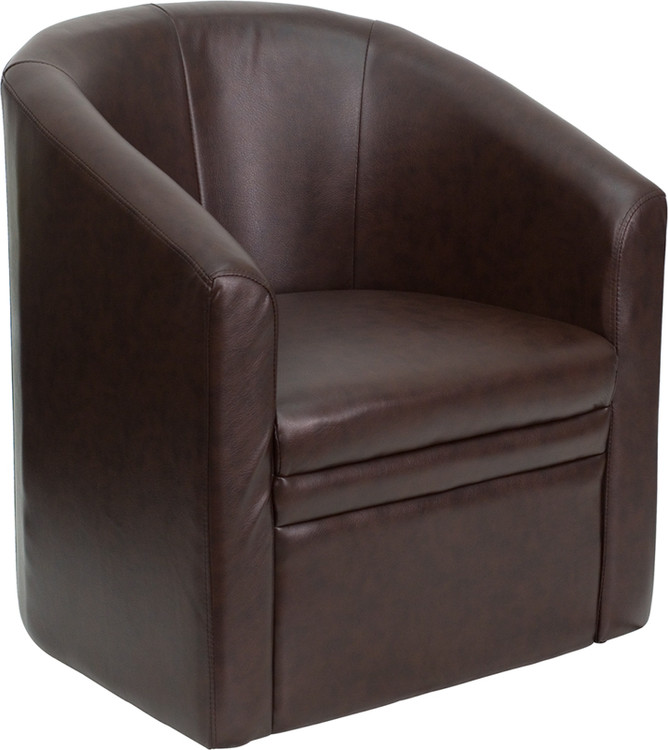 Lemoderno Brown Leather Barrel-Shaped Guest Chair