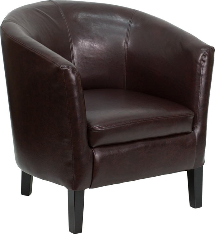 Lemoderno Brown Leather Barrel Shaped Guest Chair