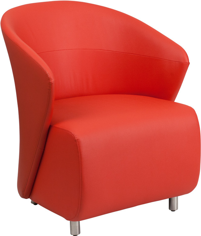 Lemoderno Red Leather Lounge Chair