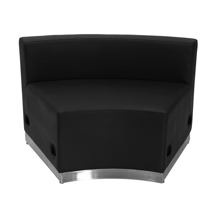 Lemoderno Alon Series Black Leather Concave Chair with Brushed Stainless Steel Base