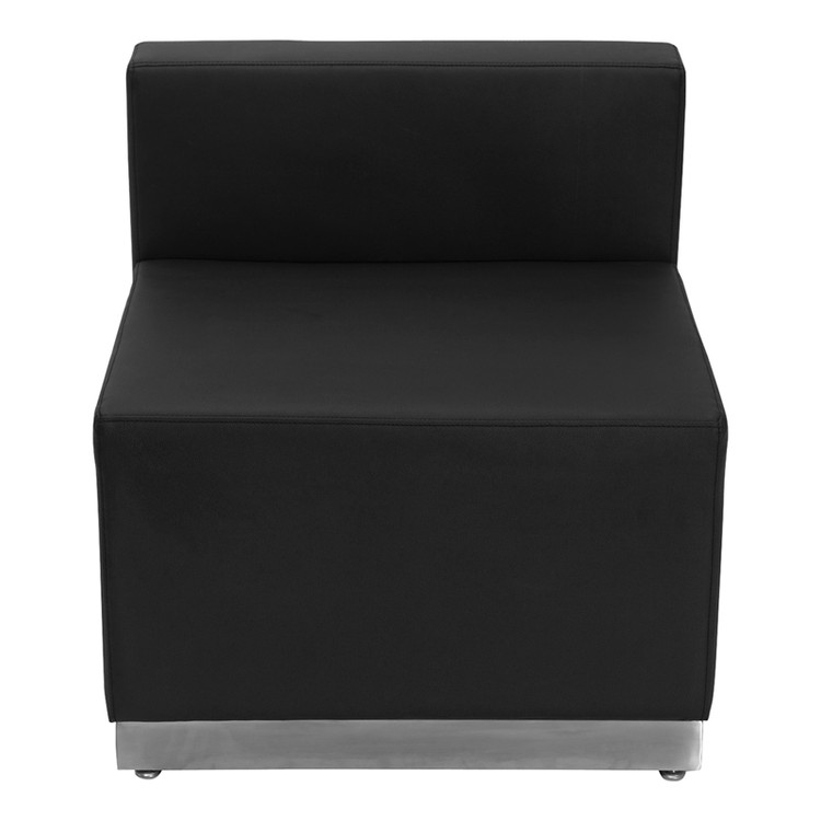 Lemoderno Alon Series Black Leather Chair with Brushed Stainless Steel Base