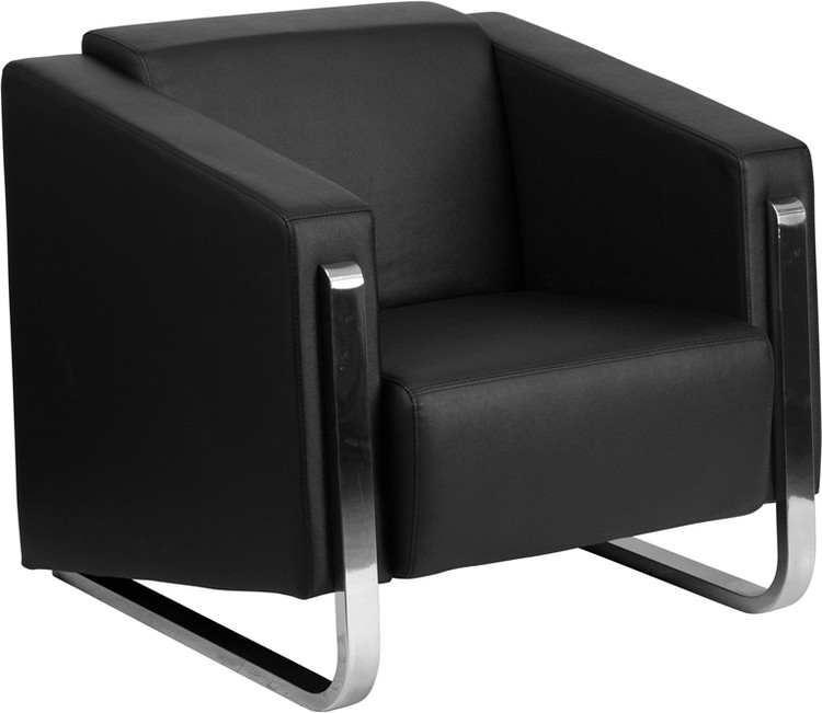 Lemoderno Gallant Series Contemporary Black Leather Chair with Stainless Steel Frame