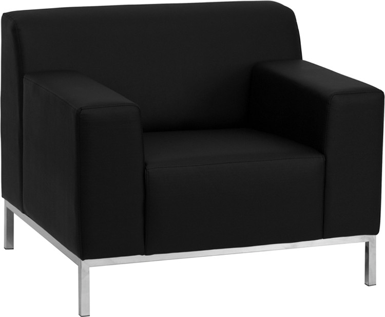 Lemoderno Definity Series Contemporary Black Leather Chair with Stainless Steel Frame