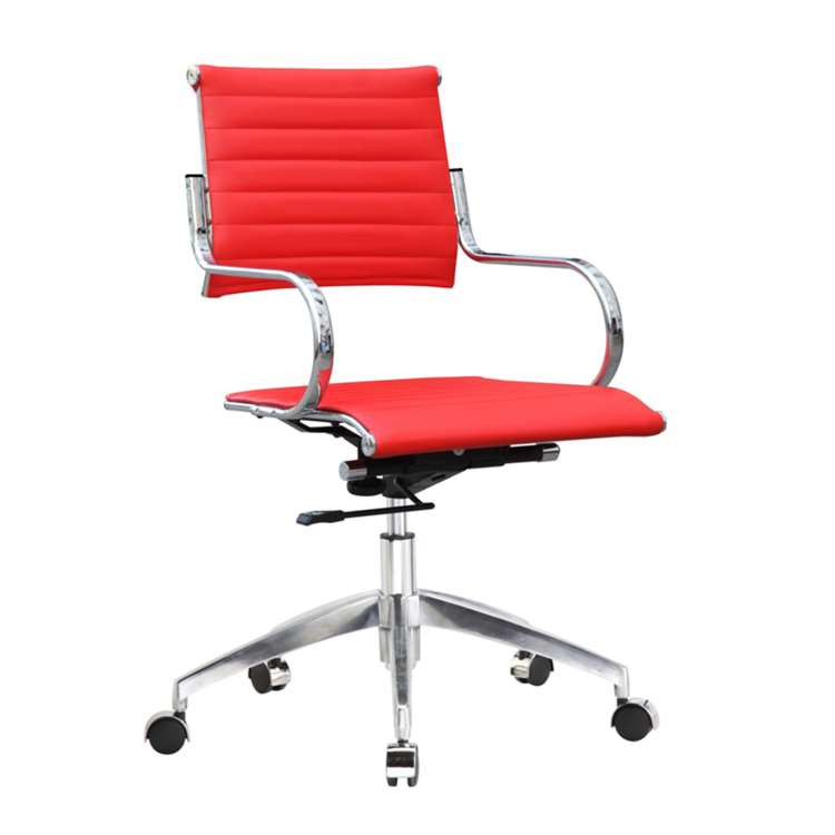 Fine Mod Flees Office Chair Mid Back, Red