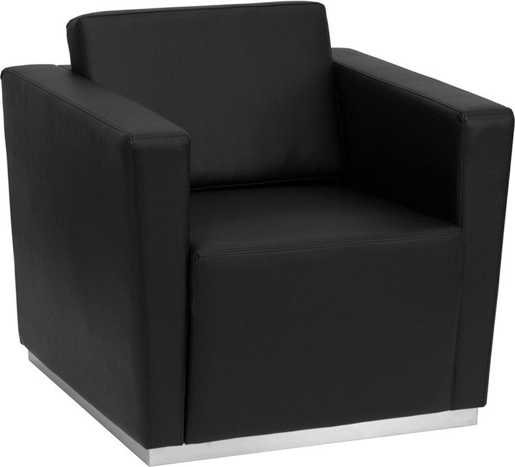 Lemoderno Trinity Series Contemporary Black Leather Chair with Stainless Steel Base