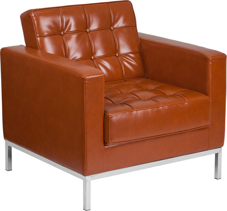 Lemoderno Lacey Series Contemporary Cognac Leather Chair with Stainless Steel Frame