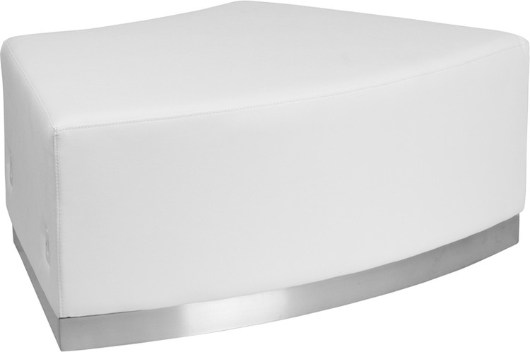 Lemoderno Alon Series Melrose White Leather Backless Convex Chair with Brushed Stainless Steel Base