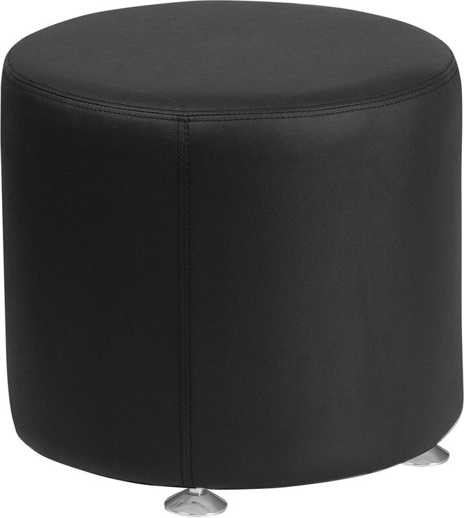 Lemoderno Alon Series Black Leather 18'' Round Ottoman