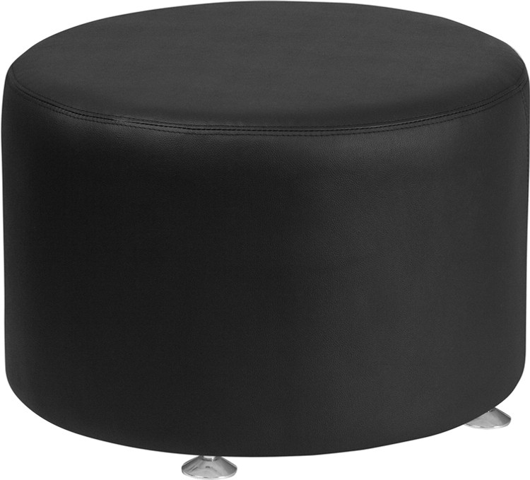 Lemoderno Alon Series Black Leather 24'' Round Ottoman