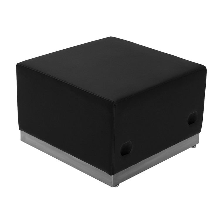 Lemoderno Alon Series Black Leather Ottoman with Brushed Stainless Steel Base