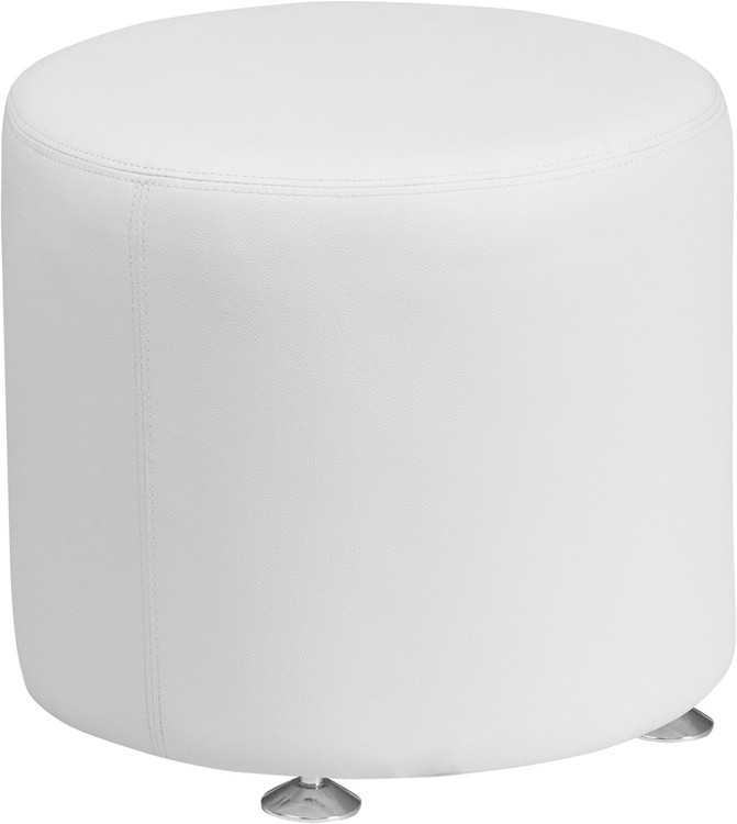Lemoderno Alon Series Melrose White Leather 18'' Round Ottoman