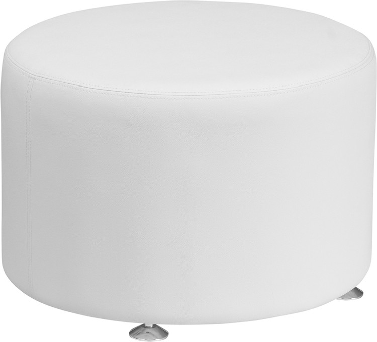 Lemoderno Alon Series Melrose White Leather 24'' Round Ottoman