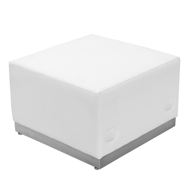 Lemoderno Alon Series Melrose White Leather Ottoman with Brushed Stainless Steel Base