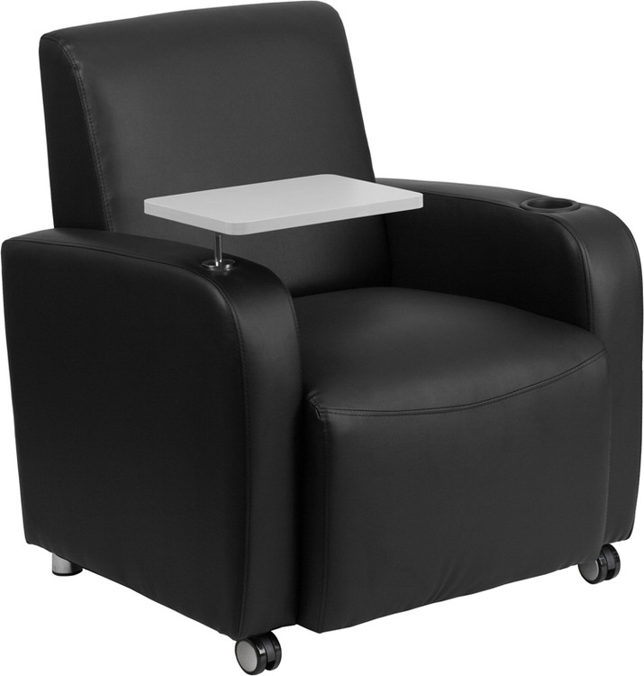 Lemoderno Black Leather Guest Chair with Tablet Arm, Front Wheel Casters and Cup Holder
