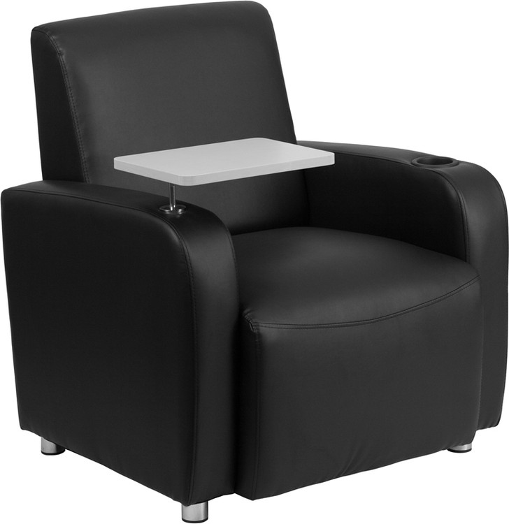 Lemoderno Black Leather Guest Chair with Tablet Arm, Chrome Legs and Cup Holder