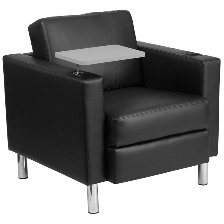 Lemoderno Black Leather Guest Chair with Tablet Arm, Tall Chrome Legs and Cup Holder
