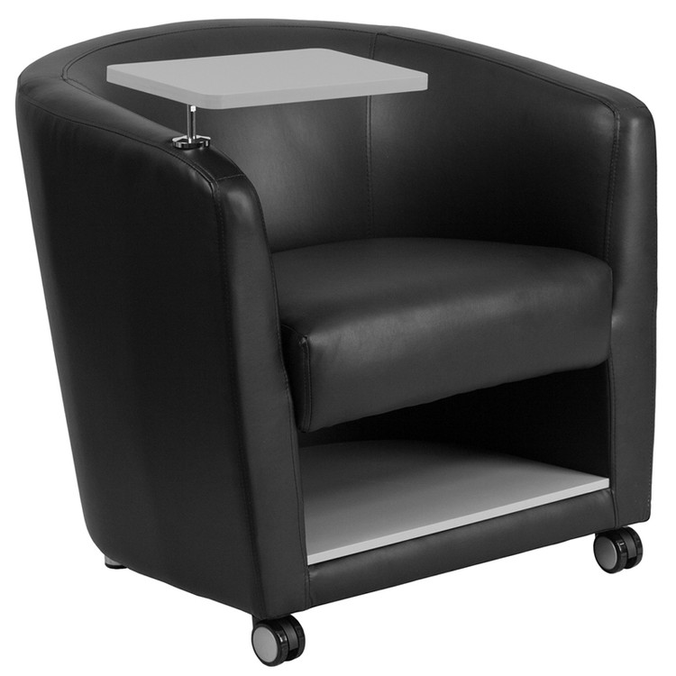 Lemoderno Black Leather Guest Chair with Tablet Arm, Front Wheel Casters and Under Seat Storage