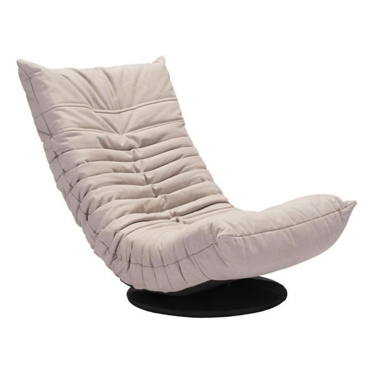 Zuo Modern Down Low Swivel Chair Beige