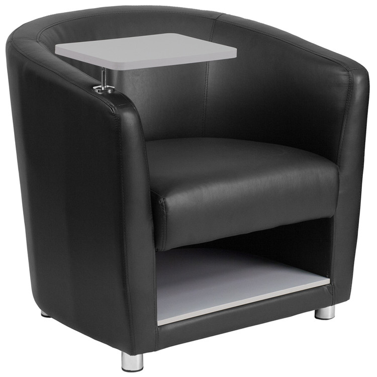 Lemoderno Black Leather Guest Chair with Tablet Arm, Chrome Legs and Under Seat Storage
