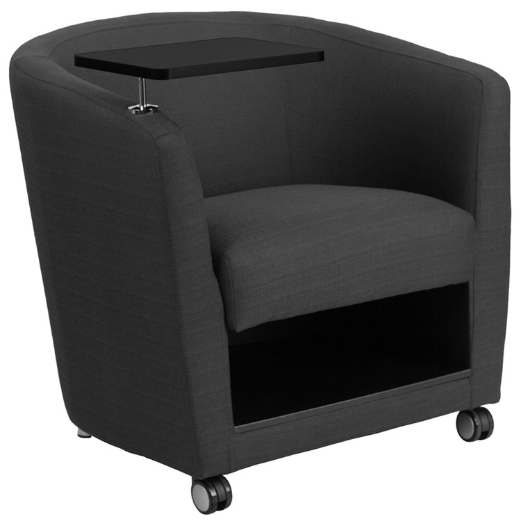 Lemoderno Charcoal Gray Fabric Guest Chair with Tablet Arm, Front Wheel Casters and Under Seat Storage