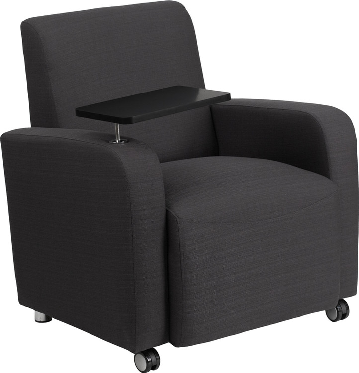 Lemoderno Gray Fabric Guest Chair with Tablet Arm and Front Wheel Casters