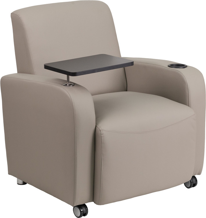 Lemoderno Gray Leather Guest Chair with Tablet Arm, Front Wheel Casters and Cup Holder