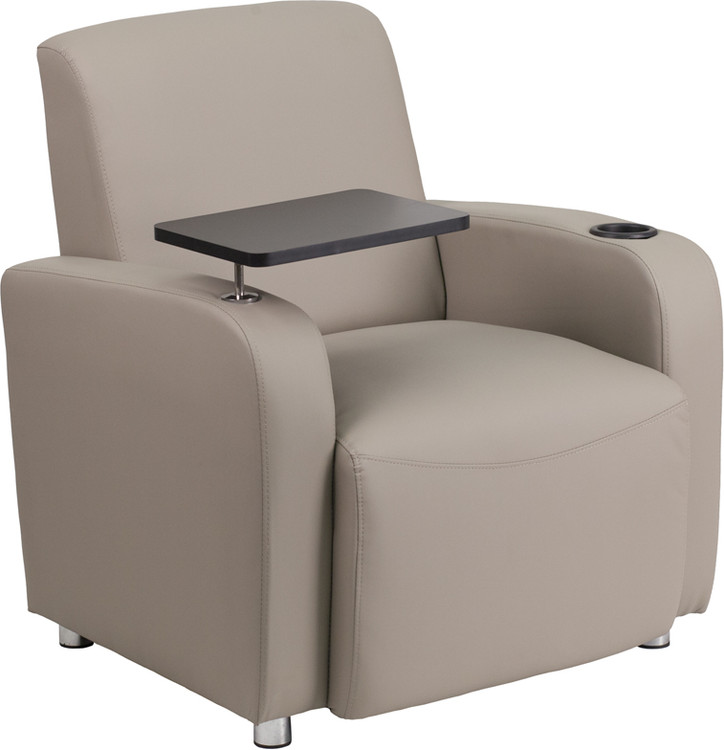 Lemoderno Gray Leather Guest Chair with Tablet Arm, Chrome Legs and Cup Holder