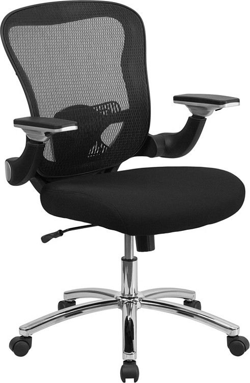 Bulk Lot 50 Lemoderno Mid-Back Black Mesh Executive Swivel Chair with Height Adjustable Flip-Up Arms