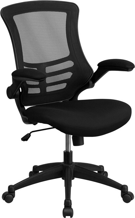 Bulk Lot 50 Lemoderno Mid-Back Black Mesh Swivel Task Chair with Flip-Up Arms