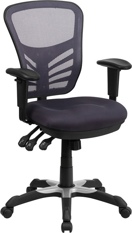 Bulk Lot 25 Lemoderno Mid-Back Dark Gray Mesh Multifunction Executive Swivel Chair with Adjustable Arms