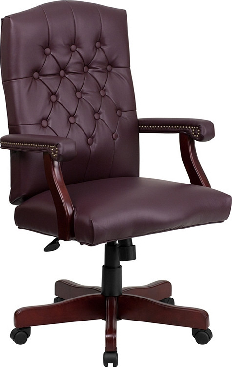 Bulk Lot 12 Lemoderno Martha Washington Burgundy Leather Executive Swivel Chair with Arms