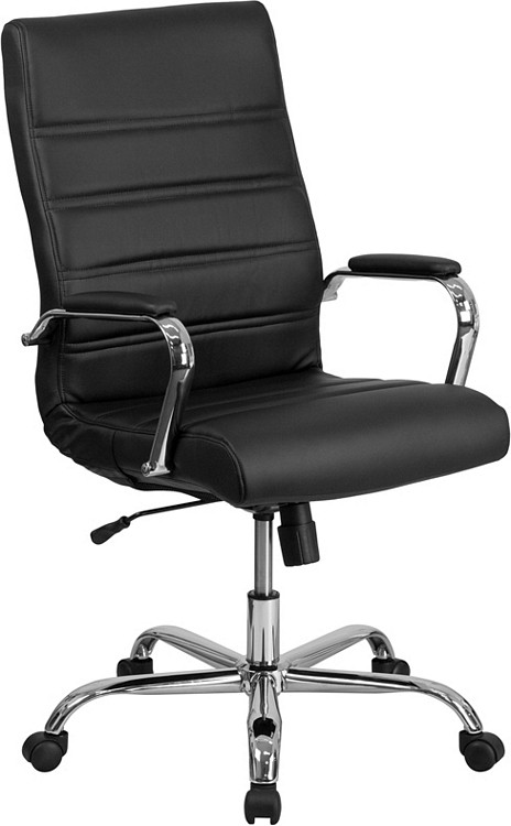 Bulk Lot 12 Lemoderno High Back Black Leather Executive Swivel Chair with Chrome Base and Arms