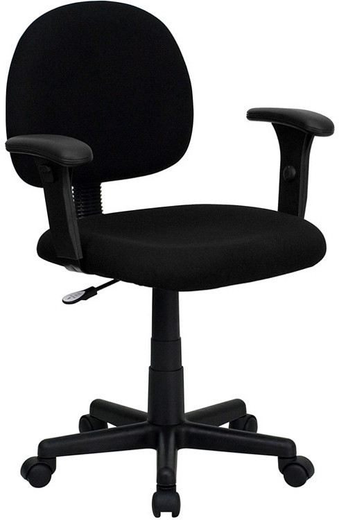 Flash Furniture Low Back Black Fabric Swivel Task Chair with Adjustable Arms