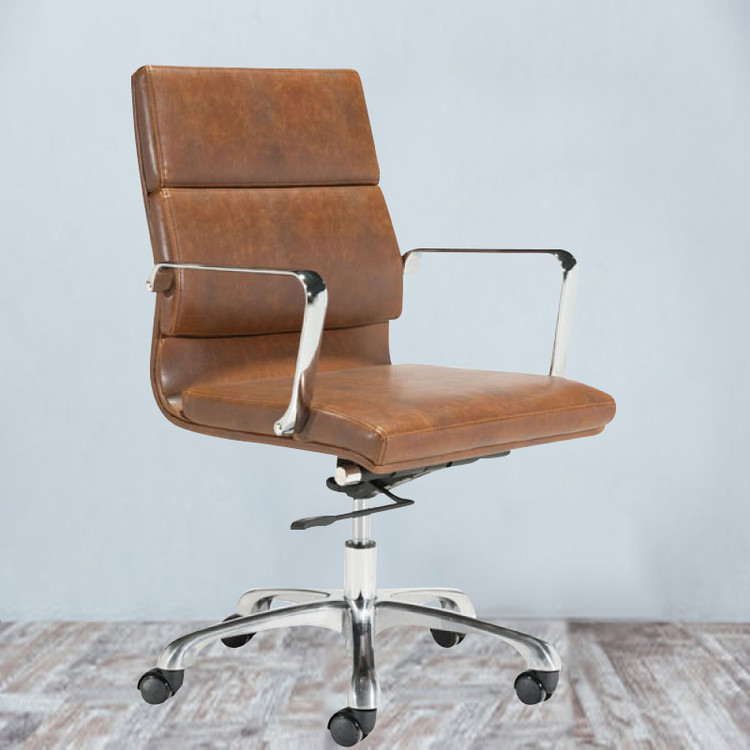 Fine Mod Soft Pad Mid Back Office Chair Vintage Brown