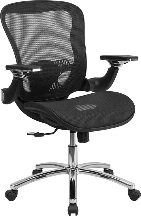 Flash Furniture Mid-Back Transparent Black Mesh Executive Swivel Chair with Synchro-Tilt and Height Adjustable Flip-Up Arms