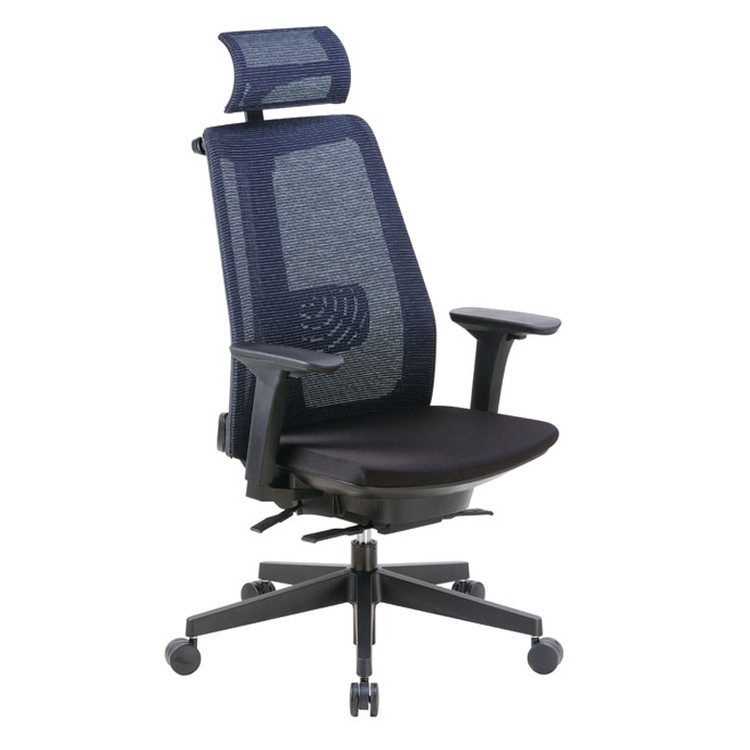 Boss Contemporary Mesh Executive Chair with Headrest B6990-BK-HR