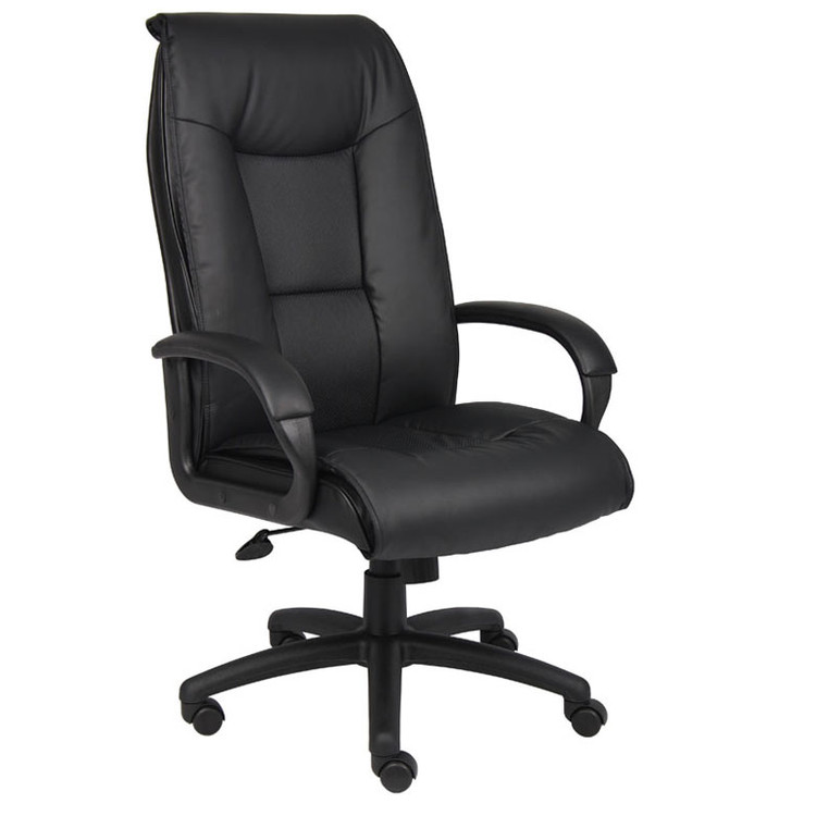 Boss Executive Leather Plus Chair W/Padded Arm & Knee Tilt B7602