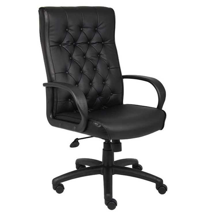 Boss Button Tufted Executive Chair In Black W/ Knee Tilt B8502-BK