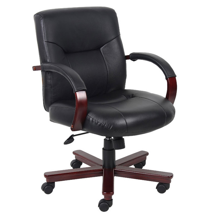 Boss Executive Leather Mid Back Chair W/ Mahogany Finished Wood W/ Knee Tilt B8907